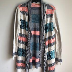 Belldini Aztec & stripe cardigan large